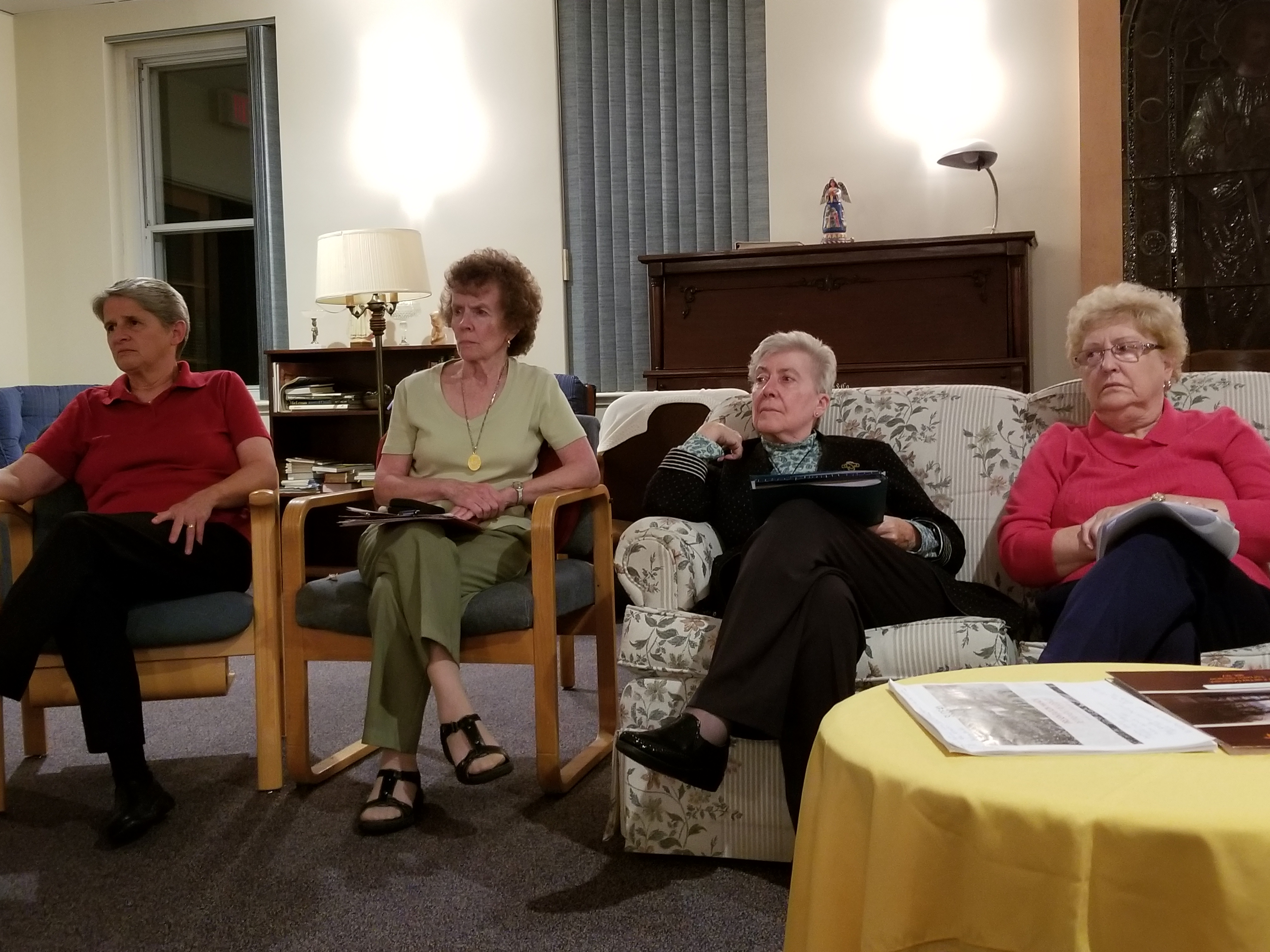 Evening discussion of UISG article from left to right Sr. Alice and Bonnie from the Sioux Peggy from US and Ann from Toronto