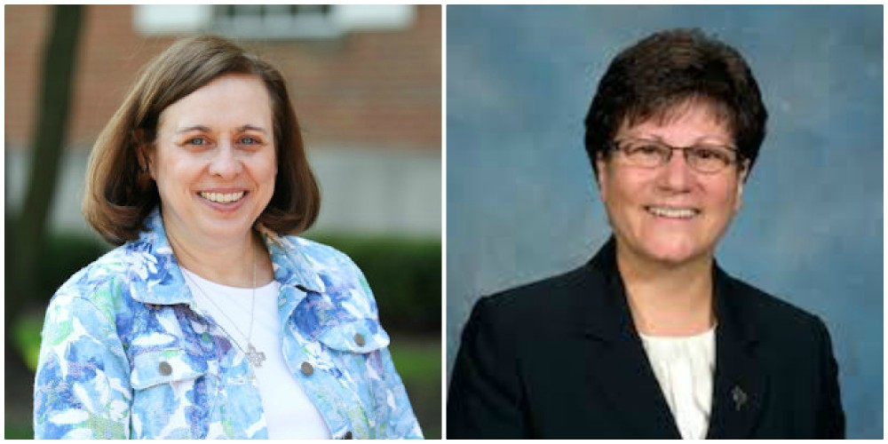 Sisters Ann Letourneau (left) and Charlene Diroka (right) assume their new positions on the Leadership Council.