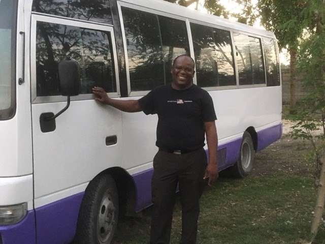 Jean Garry, our good friend, travel guide and interpreter, introduced the group to his new bus.