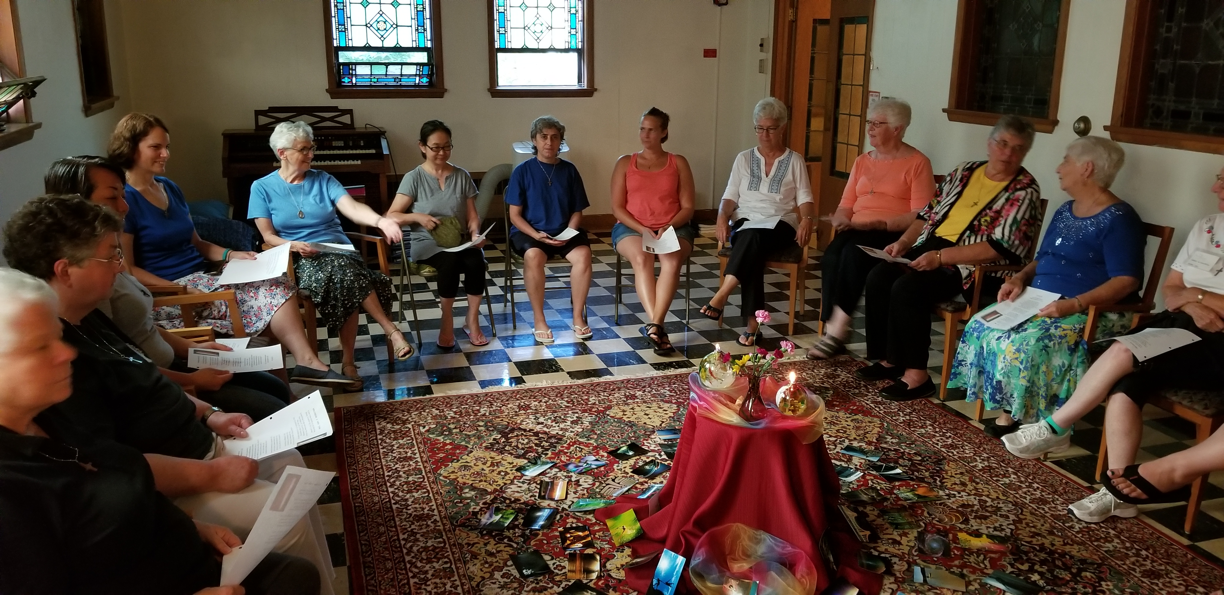 The novices join in prayer with their novice directors and congregational leaders.