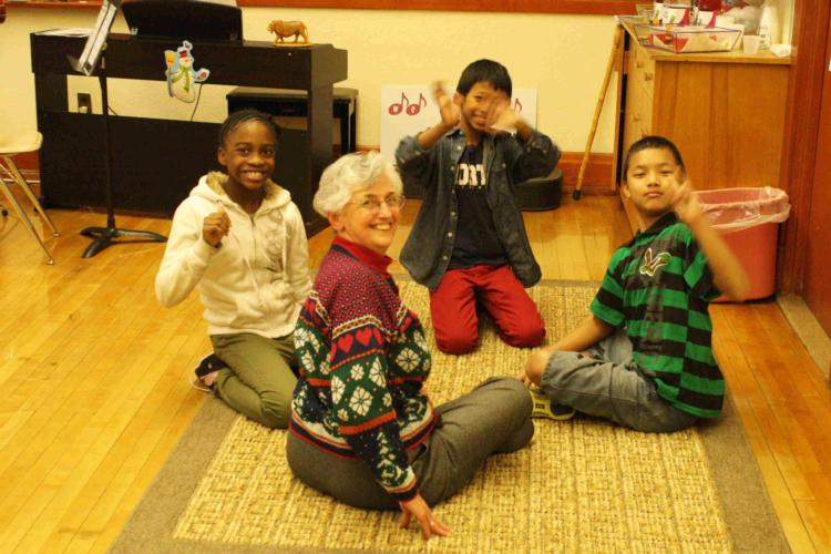 Sr. Barbara with youth at the Nazarth Neighborhood Arts Program