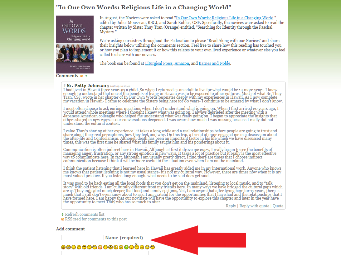 "Where to publish your comments on the new ""Read Along with the Novices"" blog"