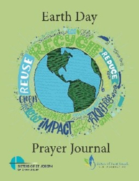 A screen shot of the cover of the prayer journal featuring a lime green background and a blue and green image of the world