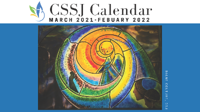 A screenshot of the cover of the CSSJ Year of St. Joseph Calendar with an image of a stained glass window at the center in front of a blue box