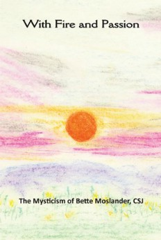 "Book Cover for ""Fire and Passion: The Mysticism of Bette Moslander,"" featuring a drawing of a sunset, mountains, and grass"