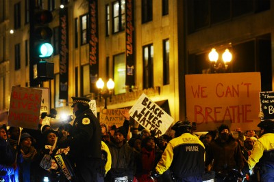 Chicago, Illinois, USA - December 7, 2014 - People protest police brutality against African Americans.